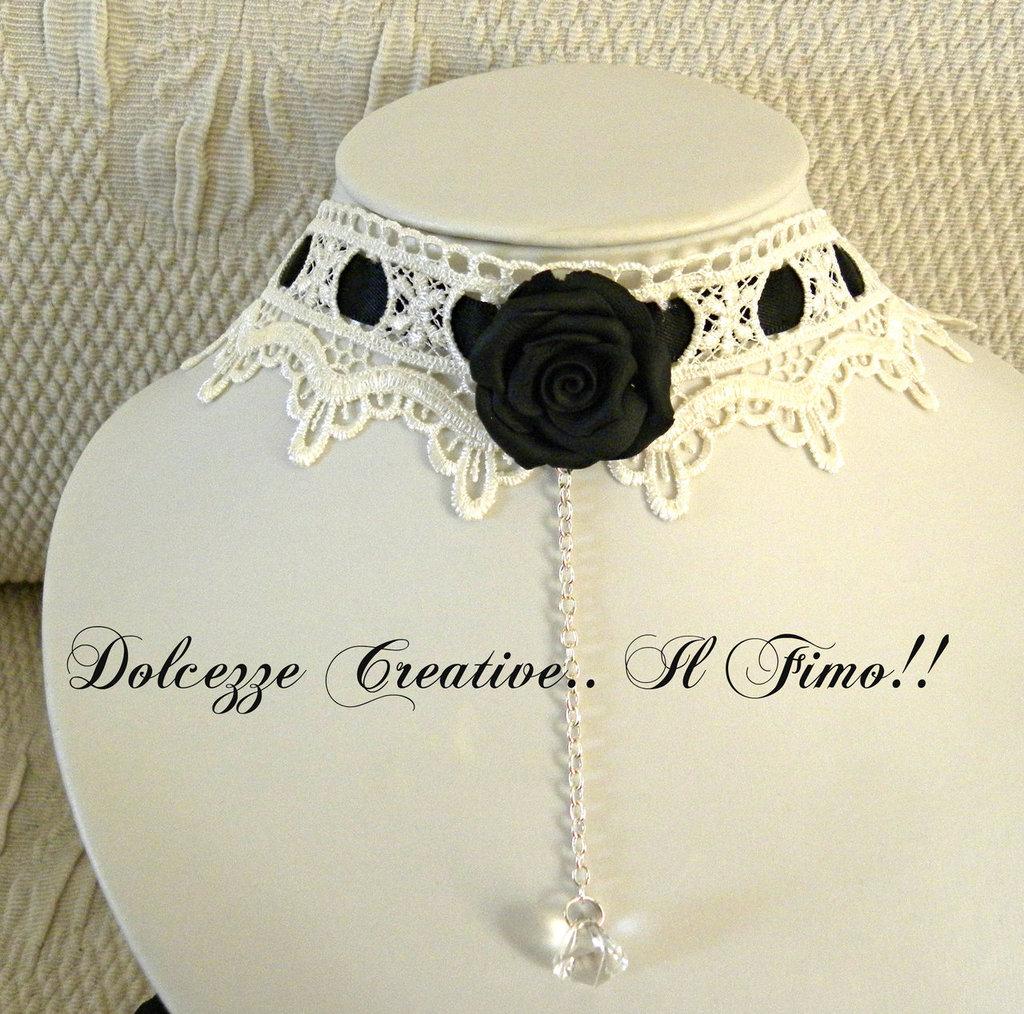 Collarino Dark Lady Goth Emo Rosa Kawaii Pastel Goth Idea regalo NERA E BIANCA