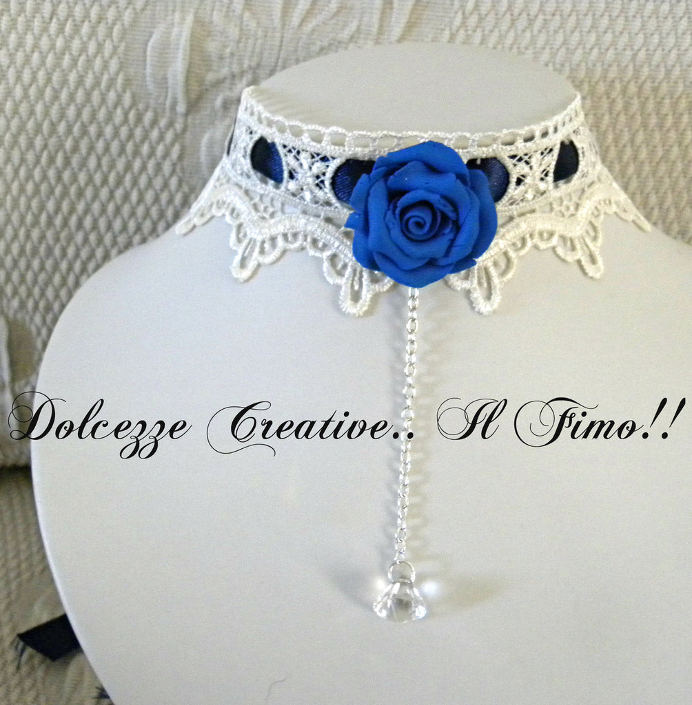 Collarino Dark Lady Goth Emo Rosa Kawaii Pastel Goth Idea regalo COLOR BLU E BIANCO