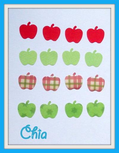 16 mele fustellate in carta decorata per scrapbooking e cardmaking