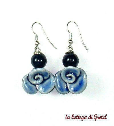 orecchini con perle in ceramica
