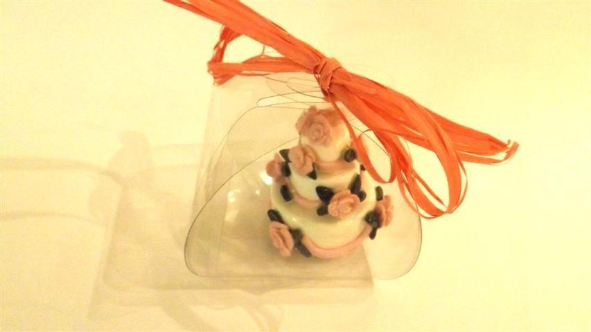 "MINI WEDDING CAKE - torta nuziale segnaposto bomboniera matrimonio FIMO - MODELLO  ""  AUDREY  """