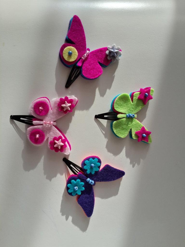 Fermagline a farfalla di feltro fatte a mano - Bambini
