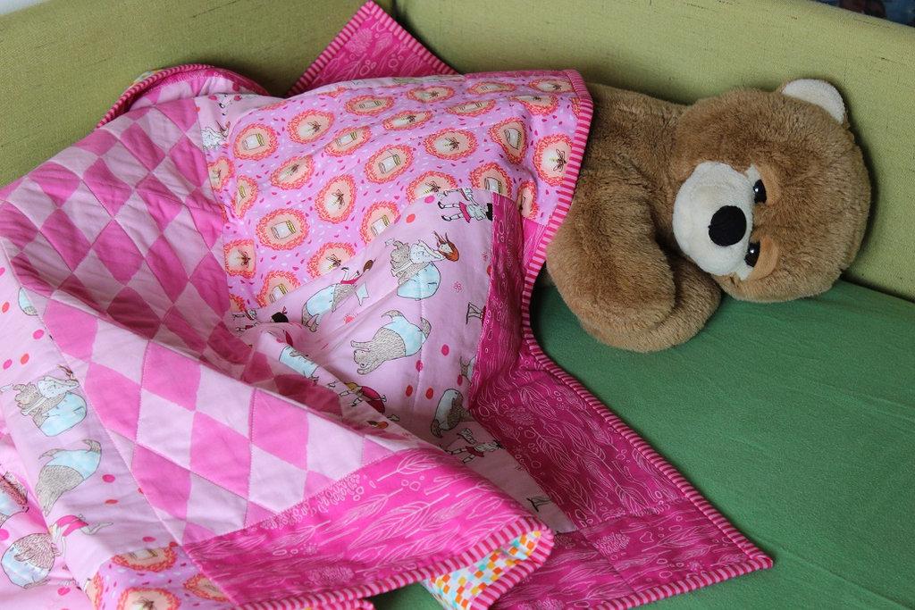 """Trapunta patchwork per bambini """" Un orso per amico"""". Misura lettino"""
