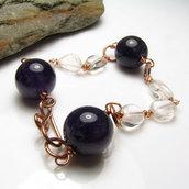 Bracciale con cristallo di roccia e ametista - Violet