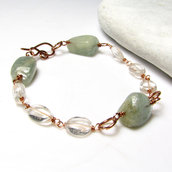 Bracciale con cristallo di roccia e avventurina - Green Aventurine