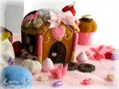 Pan di zenzero dolce casa - Hansel e Gretel - scatoletta in feltro, pannolenci