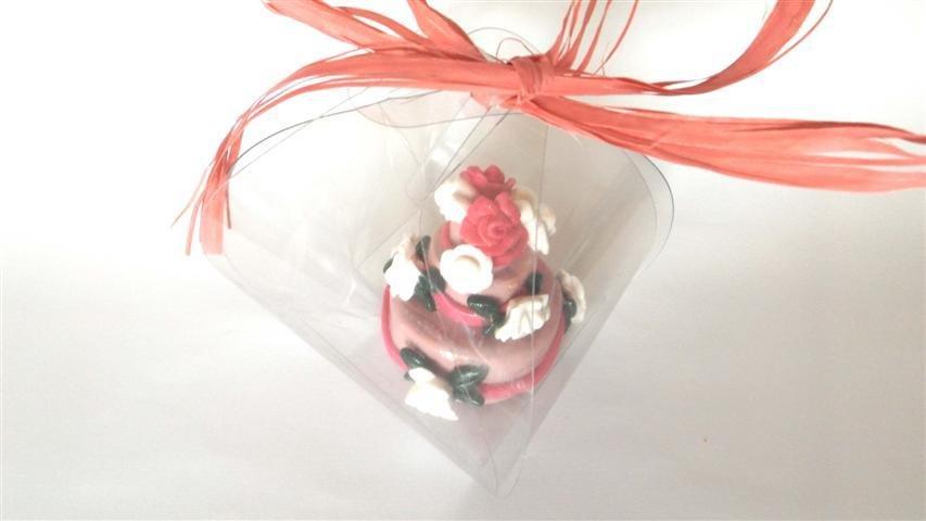 "MINI WEDDING CAKE - torta nuziale segnaposto bomboniera matrimonio FIMO - MODELLO  ""  GRETA  """