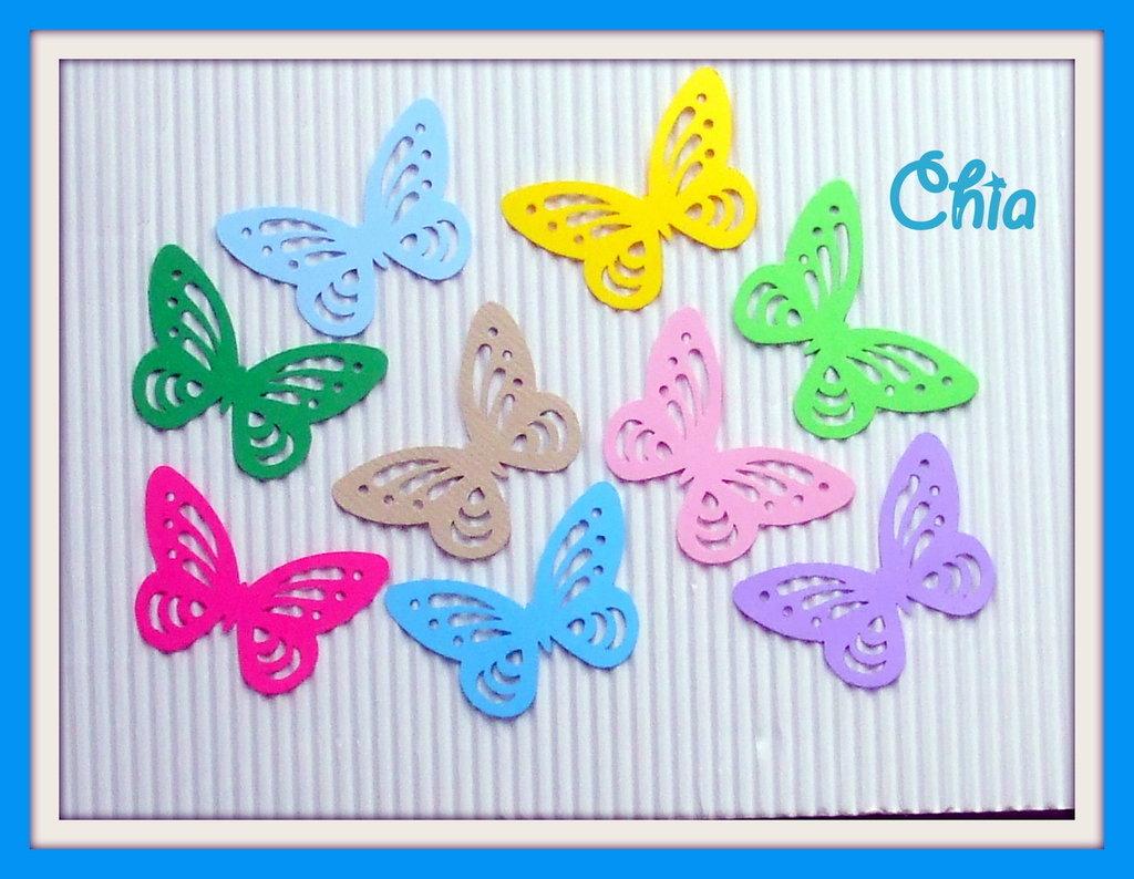 10 farfalle fustellate 4,5x3cm in cartoncino