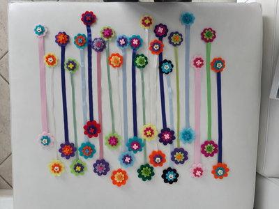 Segnalibro a fiore di feltro fatto a mano