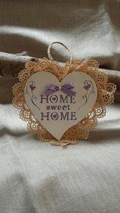 "Cuore legno ""Home sweet home"""