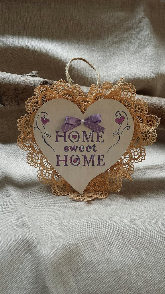 "Cuore legno ""Home sweet home"""