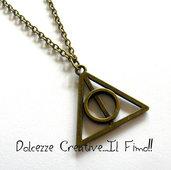 Collana Harry Potter Doni della morte idea regalo kawaii ciondolo