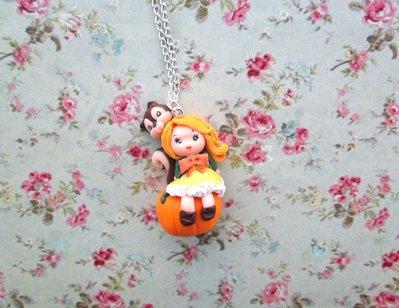 collana autunno zucca,necklace autumn pumpkin