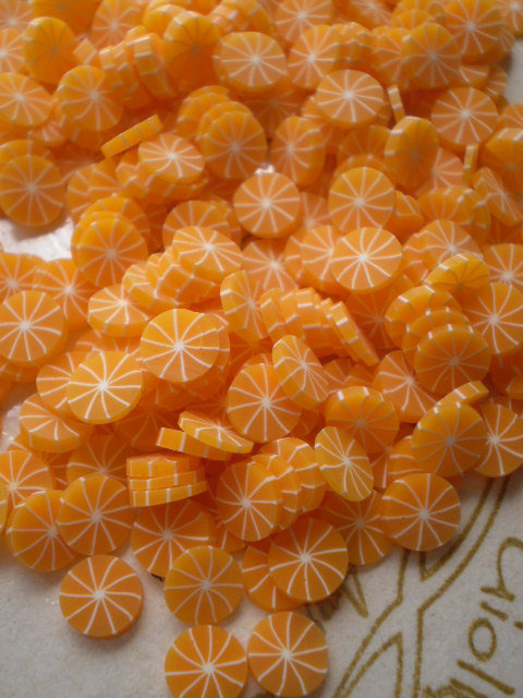 130 Fettine Arancia Sbucciata da Polymer Clay Canes