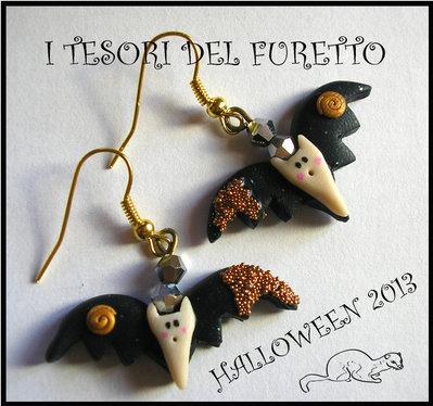 "Orecchini  ""Pipistrelli Neri"" Kawaii fimo cernit bijoux halloween"