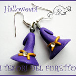 "Orecchini ""Cappelli da strega viola "" fimo cernit kawaii halloween idea regalo bijoux"