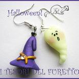 """Orecchini """"Halloweeen Fantasmini fluorescenti e cappello da strega"""" fimo cernit kawaii idea regalo"""