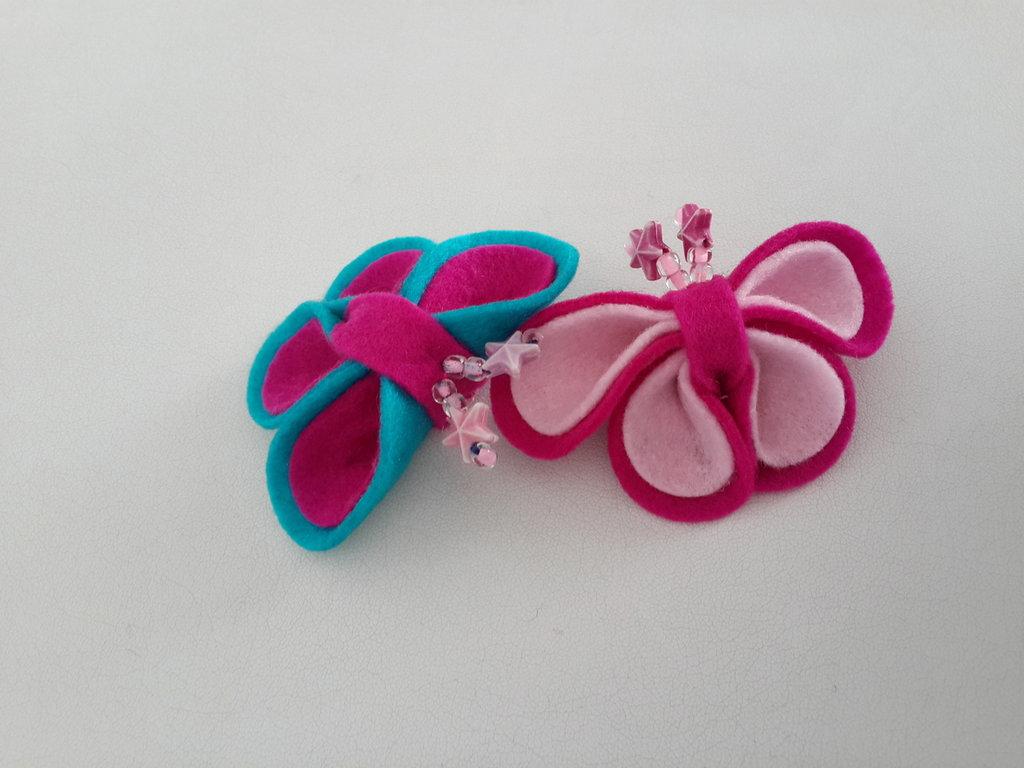 Calamite a farfalla di feltro fatte a mano