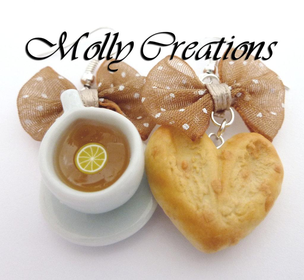 Orecchini biscotto e tazzina di the in Fimo