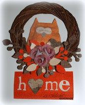 """CORONA """"HOME"""" CON GUFO - 20 cm"""