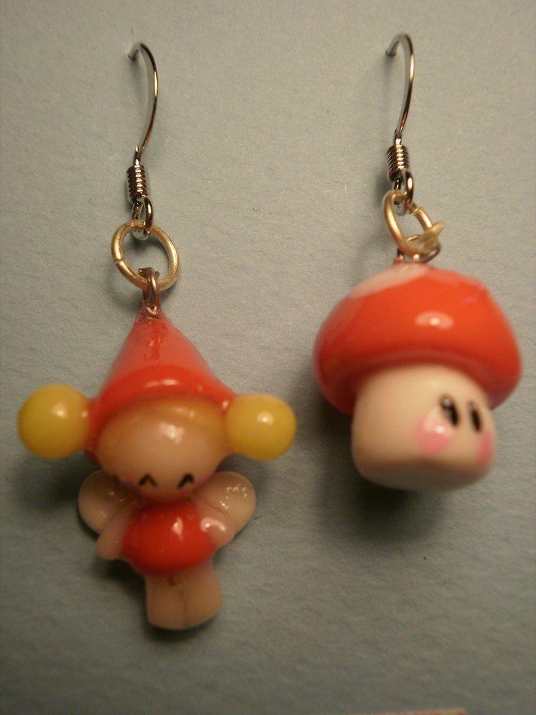 """orecchini """"fata e fungo"""""""