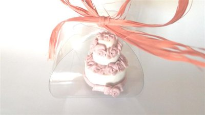 "MINI WEDDING CAKE - torta nuziale segnaposto bomboniera matrimonio FIMO - MODELLO  ""  JOY """