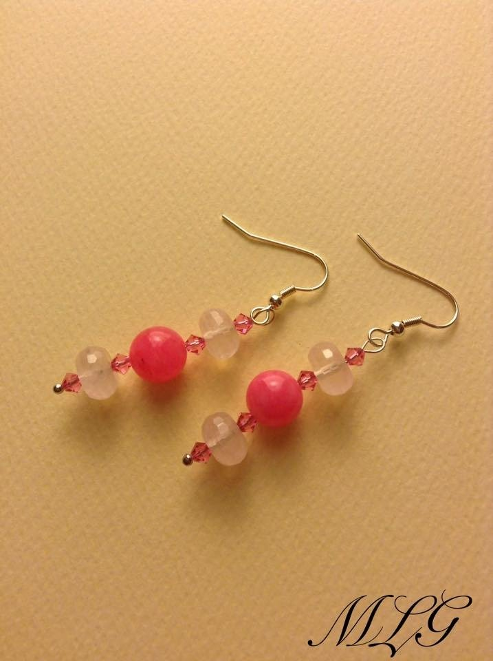 Orecchini in quarzo rosa e agata rosa
