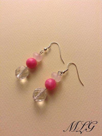 Orecchini in cristallo e pietre di quarzo rosa e agata