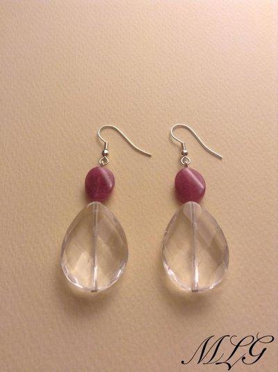 Orecchini in cristallo di rocca e giada rosa