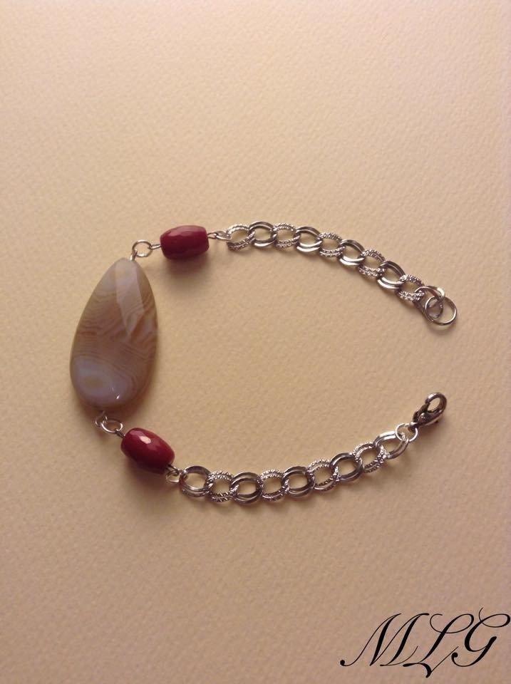 Bracciale con agata botswana e radice di rubino