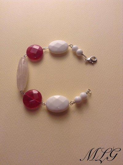 Bracciale in pietre dure con quarzo rosa