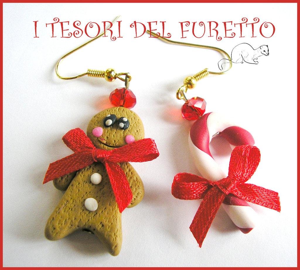 """Orecchini """" Natale Panddizenzero e bastoncino di zucchero"""" Fiimo cernit idea regalo bijoux natalizi"""