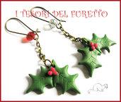 """Orecchini """" Natale Agrifoglio su catena"""" Bronzo fimo cernit kawaii idea regalo"""