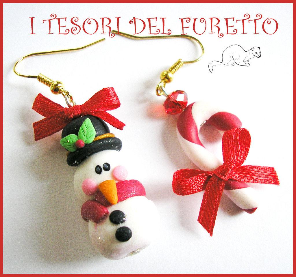 """Orecchini """" Natale omino di neve e bastoncino di zucchero"""" fimo cernit kawaii pupazzo neve natale 2014"""