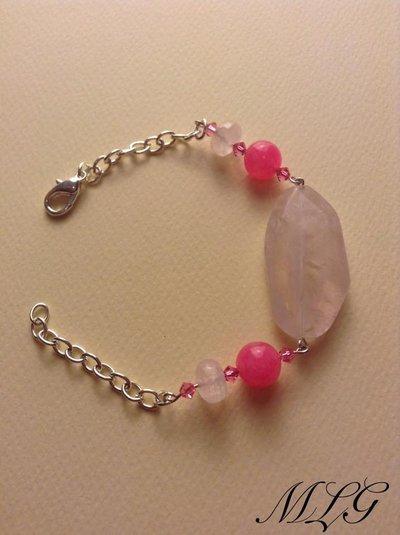 Bracciale con pietre di quarzo rosa e agata