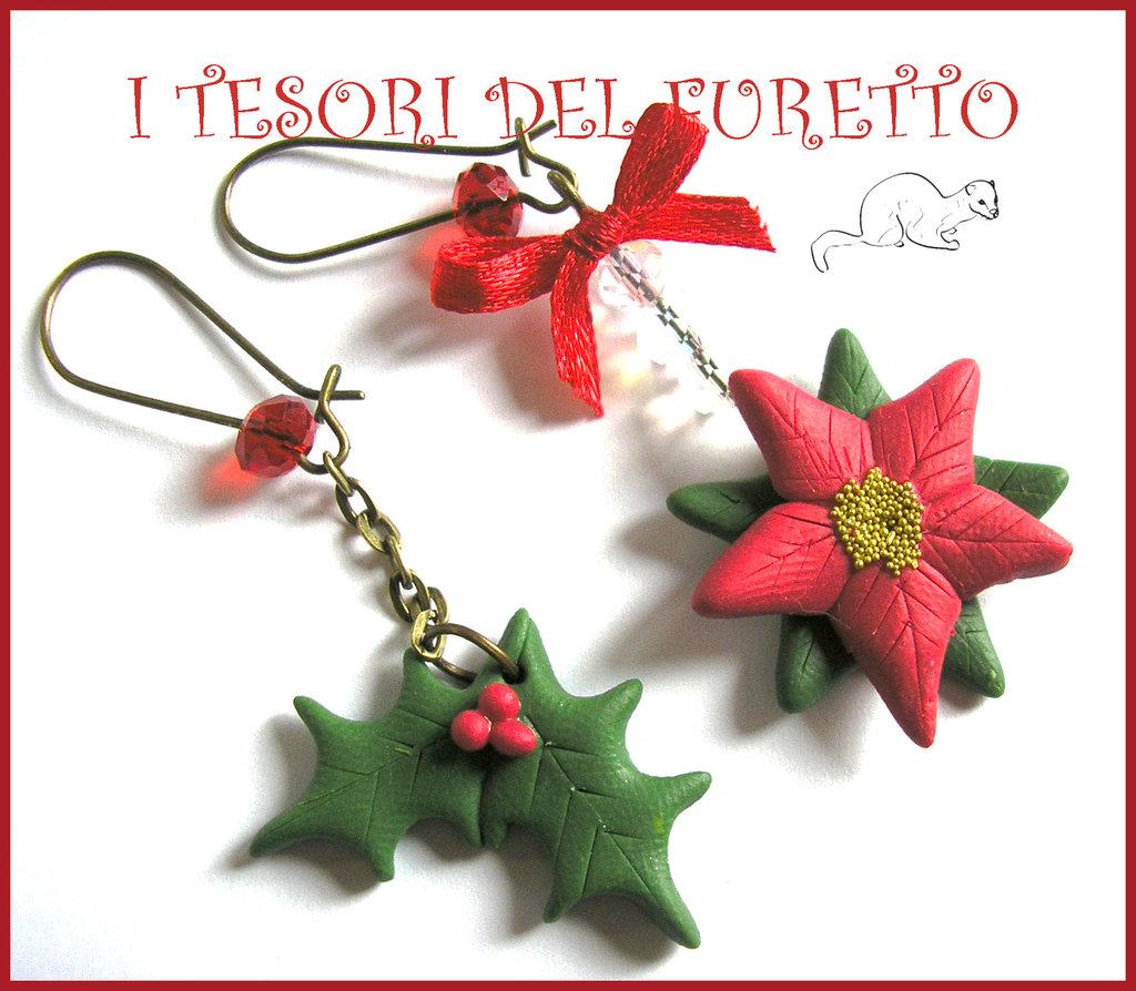 """Orecchini """" Agrifoglio e stella di Natale """" fimo cernit kawaii bijoux natalizi idea regalo"""