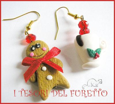 """Orecchini """"Natale Pandizenzero e tazza di cioccolata"""" fimo cernit kawaii idea regalo bijoux natalizi"""