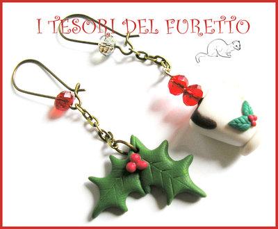 """Orecchini """"Agrifoglio e tazza di cioccolata"""" fimo cernit kawaii idea regalo bambina Natale 2014 bijoux"""