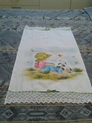 Asciugamano in cotone dipinto a mano