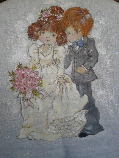 Pannello in lino sposini dipinti a mano