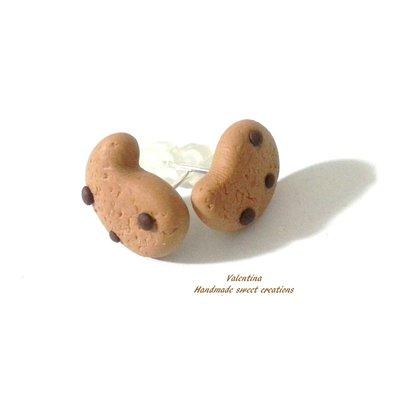 Mini orecchini a lobo biscotto gocciole fimo