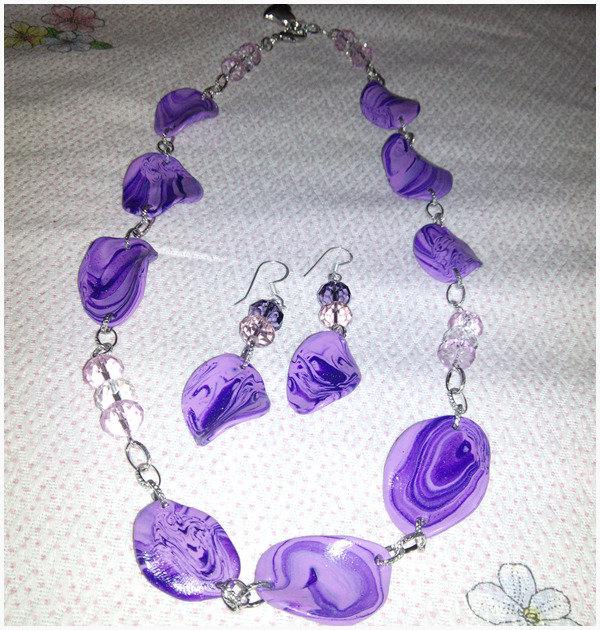Parure collana ed orecchini in fimo perline ed argento