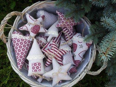 Decorazioni natalizie bordò - set 12 pz