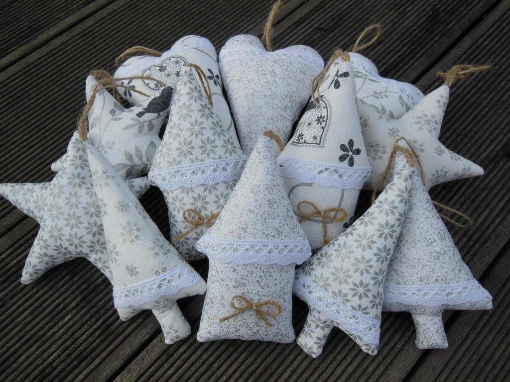 Decorazioni natalizie bianco/argento - set 12 pz
