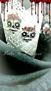 """orecchini in fimo """"calavera skull"""" per halloween"""