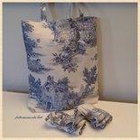 Shopping bag richiudibile in cotone con scene campestri blu