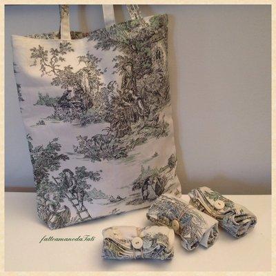 Shopping bag richiudibile in cotone con scene campestri verdi