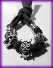 Bracciale Halloween con fettuccia elastica e beads in lega argentata