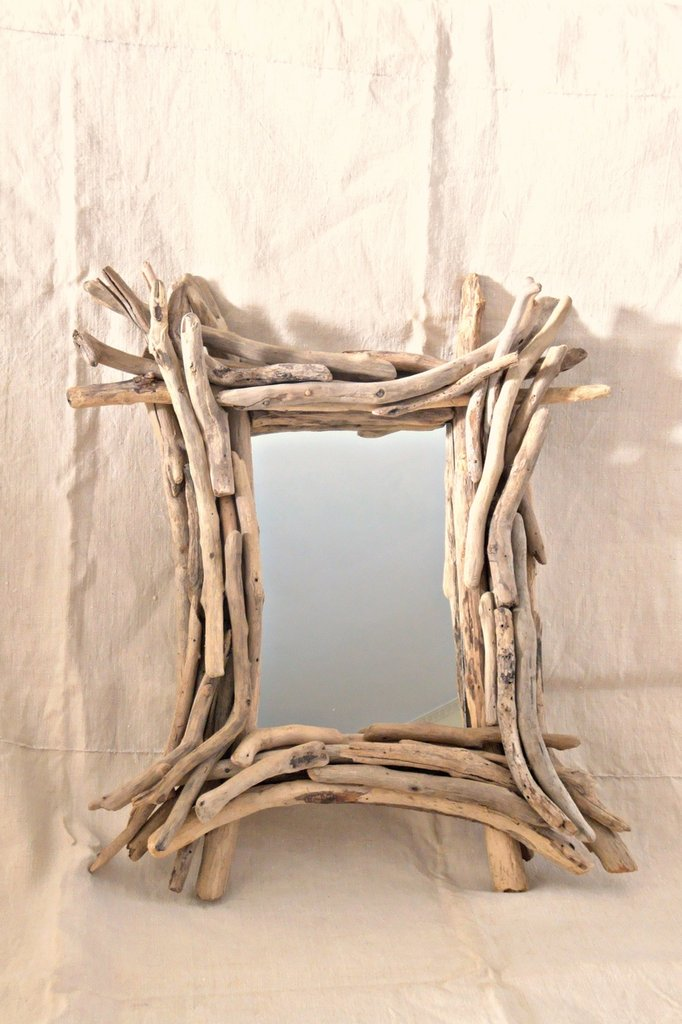 specchio albert con legni di mare per la casa e per te