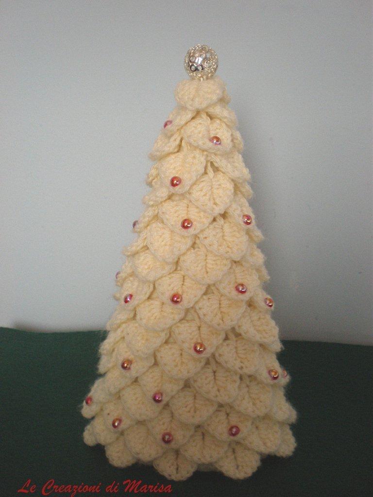 albero natale bianco uncinetto
